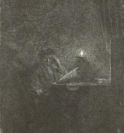 レンブラント・ファン・レイン「蝋燭の明かりのもとで机に向かう学生」東京 国立西洋美術館蔵